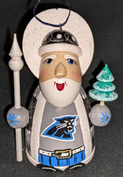 WOW! HAND CRAFTED CAROLINA PANTHERS WOODEN SANTA CLAUS TREE ORNAMENT