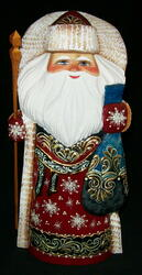 LOVELY HAND PAINTED GOLDEN UZOR RUSSIAN SANTA w/ BRIGHT RED CLOAK #8959