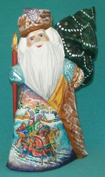 Handpainted Russian Santa w/ Tree & Village Scene #0989 Handcarved Wooden Statue