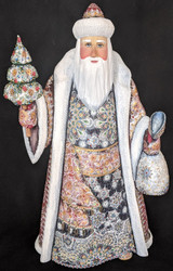 WOW! GORGEOUS HAND PAINTED RED & GREY RUSSIAN SANTA CLAUS w/CHRISTMAS TREE #5311