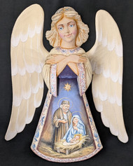 WOW! STUNNING SCENIC HAND CARVED & HANDPAINTED RUSSIAN ANGEL - HOLY FAMILY #2000