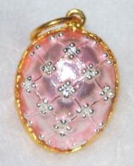 ELEGANT Russian Faberge Egg Charm - PALE PINK, SILVER & GOLD #1720