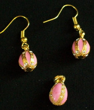 GLOWING BRIGHT PINK & GOLD HANDCRAFTED RUSSIAN EGG CHARM & EARRINGS #2703
