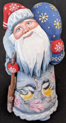 HAND PAINTED SANTA CLAUS #8763 w/RUSSIAN YELLOW BELLIED TIT & PINK FLOWERS