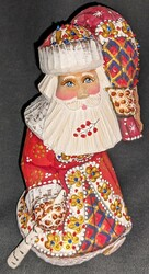 FANTASTIC HAND PAINTED BRIGHT RED & GOLD STOOPED SANTA CLAUS w/ PACK #5623