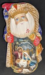 LOVELY HAND PAINTED RUSSIAN SANTA w/NATIVITY SCENE - HOLY FAMILY & LAMB #1388