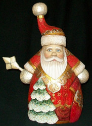 Uniquely Shaped Hand Painted Red & Gold Russian Santa #5109 w/ Starburst Wand