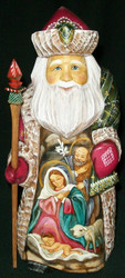 HANDPAINTED NATIVITY SCENE ON RUSSIAN SANTA CLAUS w/HOLY FAMILY & LAMB #1330