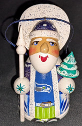 WOW! HAND CRAFTED SEATTLE SEAHAWKS WOODEN SANTA CLAUS TREE ORNAMENT