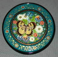 Hand Painted Round Floral Russian Lacquer Box - BEAUTIFUL BUTTERFLIES #0175