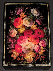 RUSSIAN HAND PAINTED KOHULI LACQUER BOX - FLORAL BOUQUET #0012