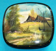 LOVELY MOTHER OF PEARL RUSSIAN LACQUER BOX - SPRINGTIME MEADOW #0082