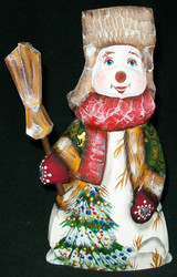 A FUN, WHIMSICAL HAND CARVED & HAND PAINTED RUSSIAN SNOWMAN #2880