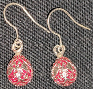 MAJESTIC RED RUSSIAN FABERGE EGG EARRINGS w/TRADITIONAL DOUBLE HEADED EAGLE 2690