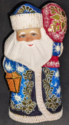LOVELY HAND PAINTED RUSSIAN GOLDEN UZOR SANTA CLAUS #0412 WINTER BLUE w/LANTERN