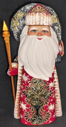 GOLDEN UZOR RUSSIAN HAND PAINTED SANTA CLAUS w/GOLDEN SNOWFLAKE #3693