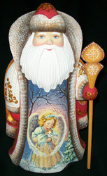 MARVELOUS SCENIC HAND PAINTED RUSSIAN SANTA CLAUS w/ANGEL & KITTY #5511