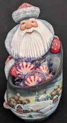 Grandfather Frost w/ Candy Holder #0282 – Hand Carved & Painted Russian Statue