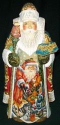 WONDERFUL HAND PAINTED SCENIC RUSSIAN SANTA CLAUS – SACK OF TOYS & ANIMALS #9306