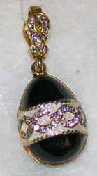 STUNNING Russian Faberge Egg Charm - BLACK, WHITE, SILVER, GOLD #0681