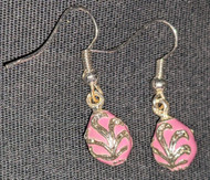 DELICATE RUSSIAN FABERGE EGG EARRINGS - PINK & SILVER #2688