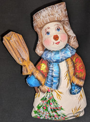 A FUN, WHIMSICAL HAND CARVED & HAND PAINTED RED, BLUE & GOLD SNOWMAN #2895