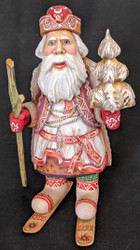 OLD WORLD HAND PAINTED RUSSIAN SANTA CLAUS/GRANDFATHER FROST ON SKIS #3382