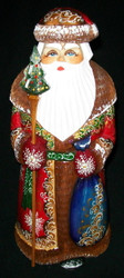 Hand Painted Red & Gold Russian Santa Claus #4432 - Handcarved Wooden Statue