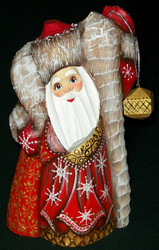 BEAUTIFUL SANTA CLAUS w/LANTERN HAND CARVED & HAND PAINTED WOODEN STATUE #3425