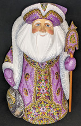 UNBELIEVEABLE HAND PAINTED LAVENDER RUSSIAN SANTA CLAUS w/FLORAL CLOAK #8411