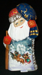 A WONDERFUL LITTLE RUSSIAN HAND PAINTED SANTA CLAUS w/TRADITIONAL TROIKA #0068