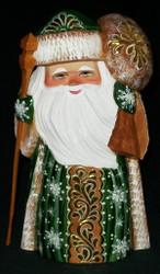 Golden Floral Design w/ Toy Bag #9206 Handpainted Russian Linden Wood Uzor Santa