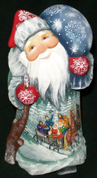 HAND PAINTED SANTA CLAUS #8778 RUSSIAN TRADITIONAL TROIKA – HORSE DRAWN SLEIGH