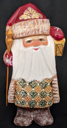 Golden Lantern - Hand Painted Russian Golden Uzor Wooden Santa Claus #0248