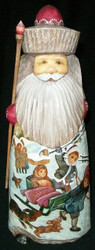 HAND PAINTED SCENIC SANTA STATUE - CHILDREN PLAYING IN THE SNOW #6139