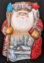 DELIGHTFUL SCENIC HANDPAINTED RUSSIAN SANTA #1322 w/SNOWY WINTER VILLAGE SCENE