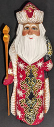 HAND PAINTED GOLDEN UZOR RUSSIAN SANTA CLAUS #6416 HAND CARVED LINDEN WOOD