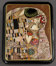 RUSSIAN MOTHER OF PEARL LACQUER BOX - GUSTAV KLIMT - THE KISS #4015