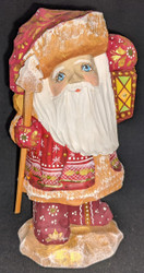 BRIGHT LANTERN - HAND CARVED & PAINTED RUSSIAN SANTA CLAUS #5241