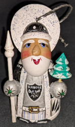 WOW! HAND CRAFTED LAS VEGAS RAIDERS WOODEN SANTA CLAUS TREE ORNAMENT