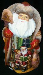 STUNNING RUSSIAN HAND PAINTED SCENIC SANTA CLAUS READING A BEDTIME STORY #8234