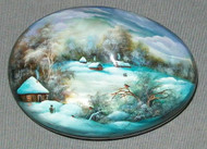 MOTHER OF PEARL HAND PAINTED FEDOSKINO RUSSIAN LACQUER BOX WINTER VILLAGE #4478