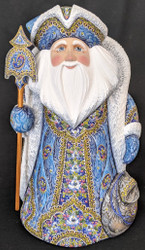 UNBELIEVEABLE HAND PAINTED WINTER BLUE RUSSIAN SANTA CLAUS w/FLORAL CLOAK #0791