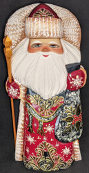 HAND PAINTED GOLDEN UZOR RUSSIAN SANTA CLAUS - RED & GOLD w/WINTER BERRIES #5024