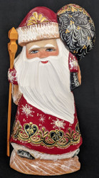 Golden Uzor Russian Hand Painted Santa Claus on Wooden Stump #4995