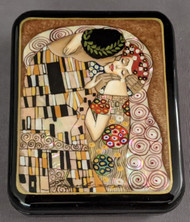 RUSSIAN HANDPAINTED MOTHER OF PEARL LACQUER BOX - GUSTAV KLIMT - THE KISS #4008