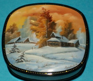 RUSSIAN HANDPAINTED MOTHER OF PEARL LACQUER BOX #3165