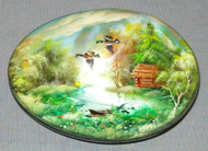 MOTHER OF PEARL HANDPAINTED FEDOSKINO RUSSIAN LACQUER BOX -GEESE #0054