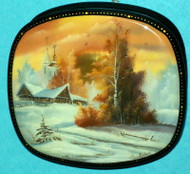 A BEAUTIFUL RUSSIAN HANDPAINTED MOTHER OF PEARL LACQUER BOX-GOLDEN SUNSET #3190