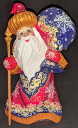 GOLD & RED HAND CARVED & HAND PAINTED RUSSIAN SANTA CLAUS #5380